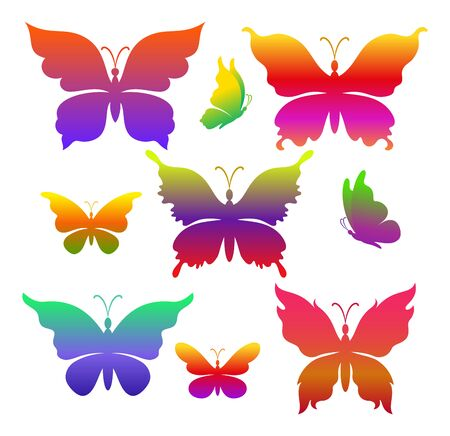 Set Symbolical Exotic Butterflies, Colorful Silhouettes Isolated on White Background. Vector 向量圖像