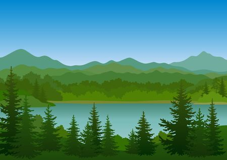 Paysage de montagne d'été avec sapins verts, lac et ciel bleu. Vecteur