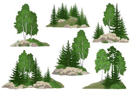 Legen Sie Landschaften, isoliert auf weißem Hintergrund, Nadel- und Laubbäume und Gras auf den Felsen fest. Vektor Vektorgrafik