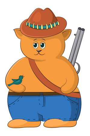 Cartoon Cat Hunter in Jeans and a Hat, with a Gun and a Bird. Vector