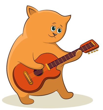Cartoon Character Cat Musician with Guitar. Vector  イラスト・ベクター素材