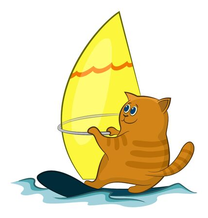 Cartoon Cat Windsurfer Sailing on the Sea Waves. Vector Ilustração