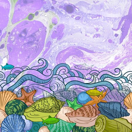 Sea Exotic Pattern, Seashells, Fishes, Starfishes Colorful and Contours on a Watercolor Painting Background Imagens