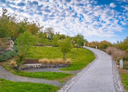A beautiful park on a hill. A small road goes up the hill. Few fleecy clouds in the sky and the roadside is bright with flowers.