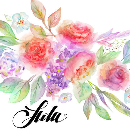 hola: Ai eps 10. File grouped and layered. Flowers with text in Spanish Hola Hello Illustration