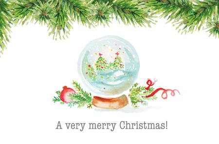 red christmas ball: Watercolor christmas background. Stock Photo