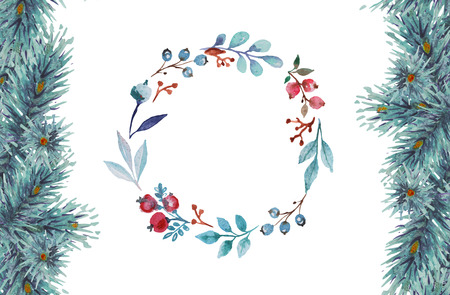 Kerst aquarel kaart. Stockfoto