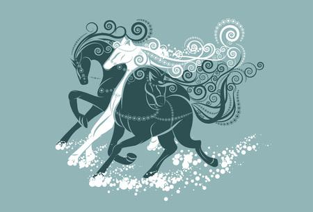 trio: A trio of horses. Illustration