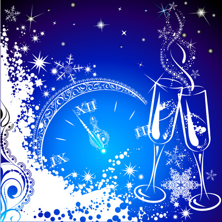 winter season: Christmas background minutes before the new year. Illustration