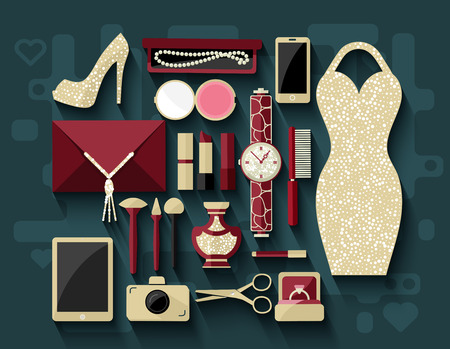 Evening womans accessories and cosmetics. Flat design.