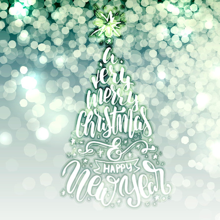 blurry lights: blurry lights background with christmas lettering congratulations. Illustration