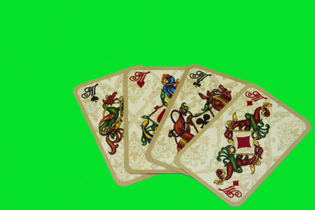 four aces on green background quads of aces