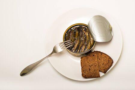 sprats: sprats and bread Stock Photo