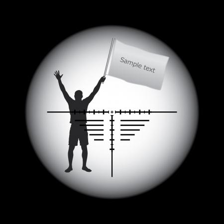 прицел винтовки объем и человек с белым флагом Иллюстрация