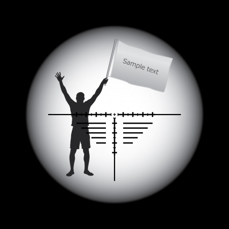 rifle scope sight and man with white flag