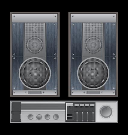 sound system: Sistema de sonido Old Vectores