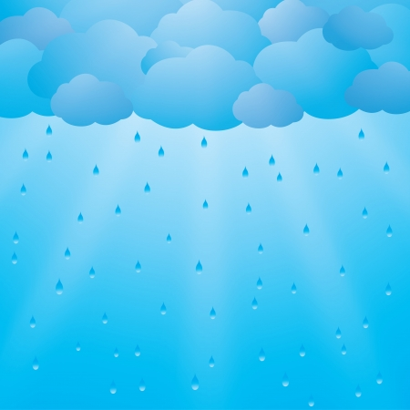 Background with clouds, rain and sun rays