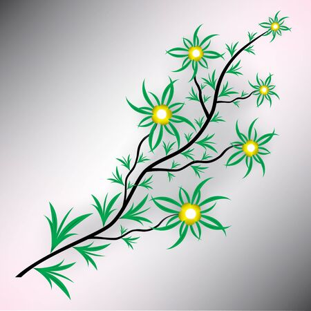 Floral background with flowers and leaves Vector