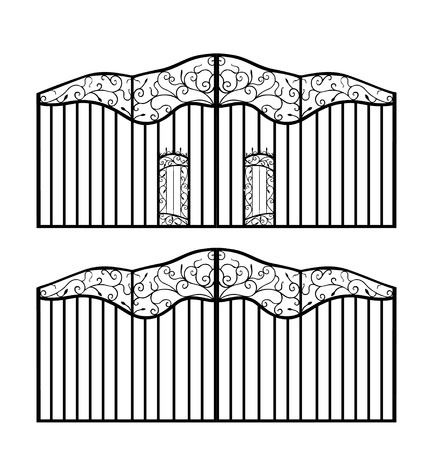 Forged gate with doors isolated on white Vector