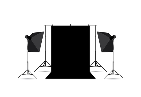 Two softboxes and black photo background isolated on white