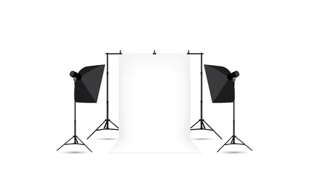 strobe light: Two softboxes and white photo background isolated on white