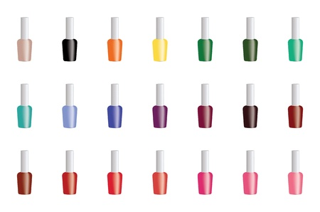 Set of color nail polish isolated on white background