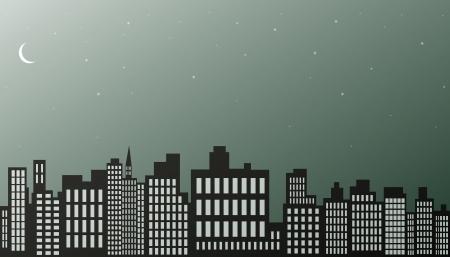 Ночной город фон черный и белый Иллюстрация