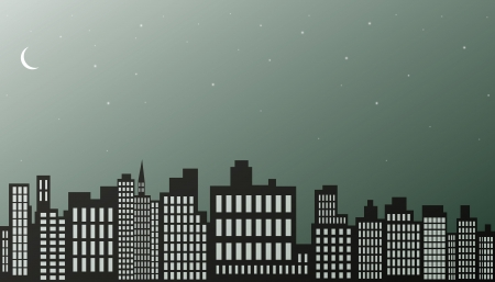 Night city background black and white   Vector