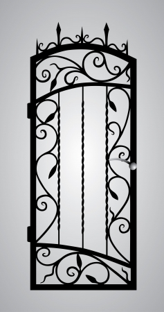 iron fence: Forged gate door  Illustration