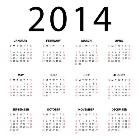 Календарь на 2014 год на белом фоне Иллюстрация