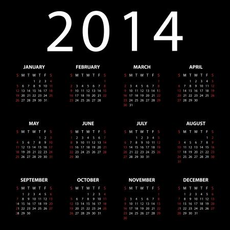 Calendar for 2014 on black background