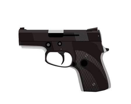 Handgun isolated on white background .