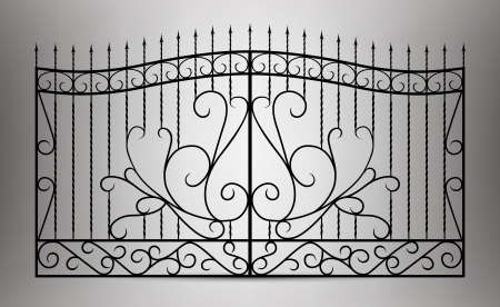 iron fence: Forged gate