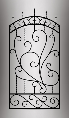 iron gate: Forged gate door  Illustration