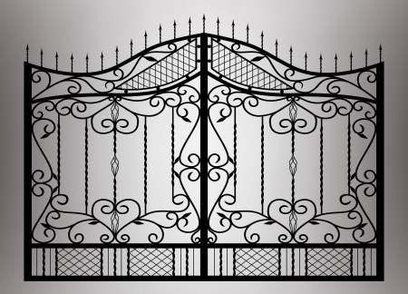 victorian fence: Forged gate with sharp spikes Illustration