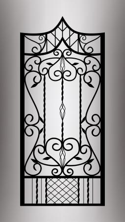 Gesmede poort deur Vector Illustratie