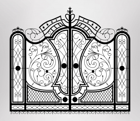 old door:  Forged gate   Illustration