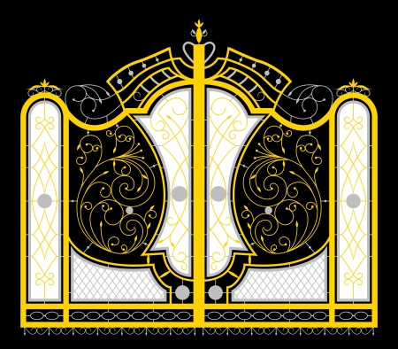Golden gate isolated on black background  vector EPS10