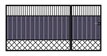 railings: Iron gate with door   Isolated on white background  Illustration