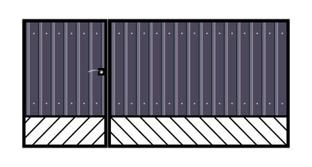 lattice frame: Iron gate with door    Isolated on white background