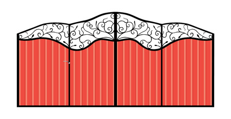 Iron gate with door  Isolated on white background  Illustration