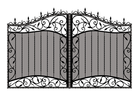 iron gate: Forged gate   Isolated on white background