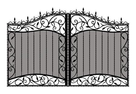 iron: Forged gate   Isolated on white background
