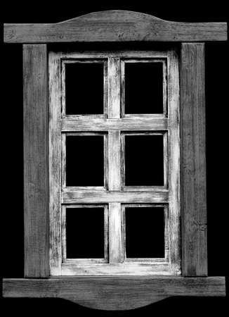 Old wooden window isolated on black background