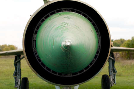 Экстрим закрыть вид на старый Jetfighter МиГ-21 Фото со стока