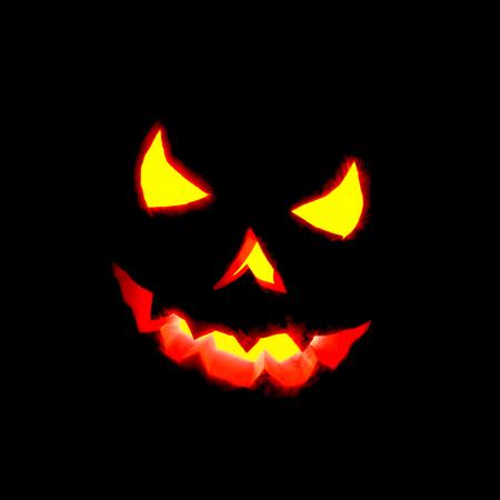 Glowing Halloween pumpkin isolated on black  Stock Photo