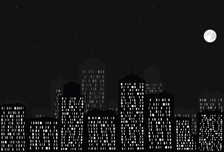 Night city, full moon and stars  Vector  Vector