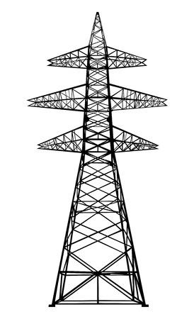 흰색에 고립 벡터 전원 전송 타워 일러스트