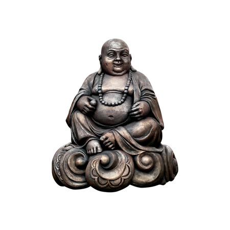 Smiling Buddha  Chinese God of Happiness  Isolated on white background  photo