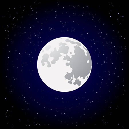 Full moon and shining stars on dark blue sky Vector